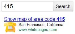 Google identifies telephone area codes