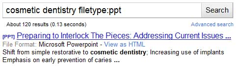 Search for type of files on Google