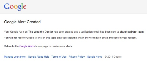 Google Alerts for Your Dental Practice: Google alert created