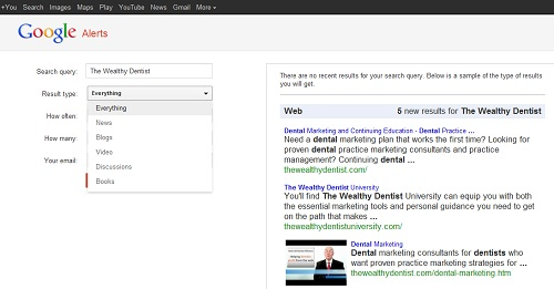 Google Alerts for Your Dental Practice: Result type