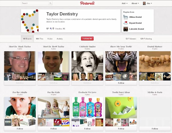 Examples of dentists on Pinterest: Taylor Dentistry