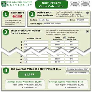 New Patient Value Calculator: dental marketing lesson